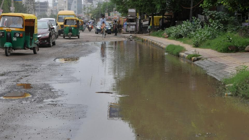 A waterlogged road near Sector 45 that has turned into an ideal breeding ground for mosquitoes.