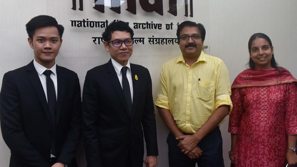 (L to R) Akaraphong Boonwit, Ekapol Poolpipat, Prakash Magdum and Keerti Tiwari during a press conference to announce the Thai film festival at NFAI in Pune.
