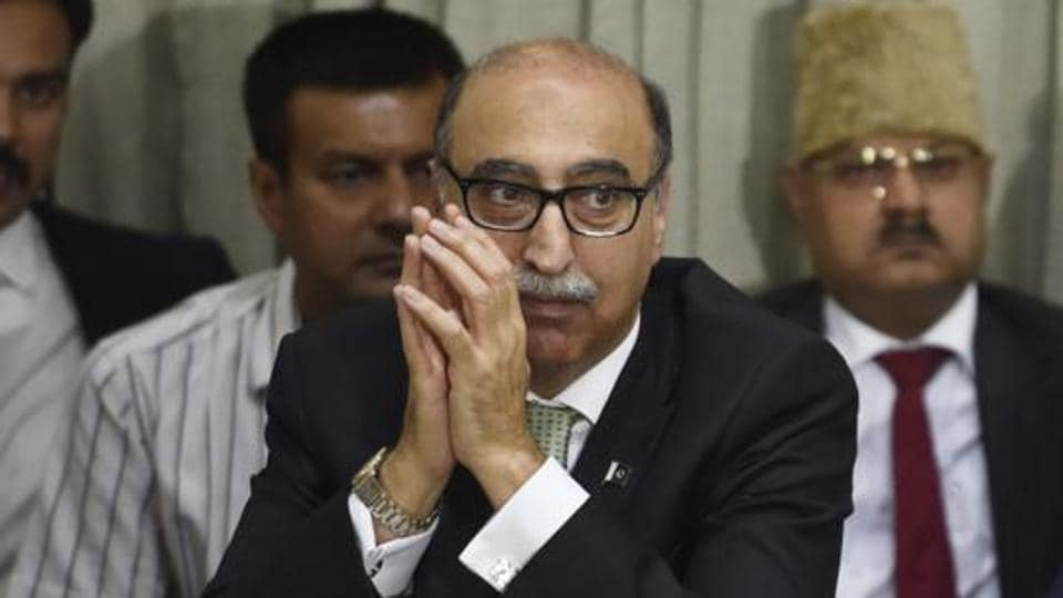 Pakistan high commissioner Abdul Basit during the discussion for improving Indo-Pak Relation's programme, organised by Center for Peace and Progress in New Delhi, on April 11, 2017.