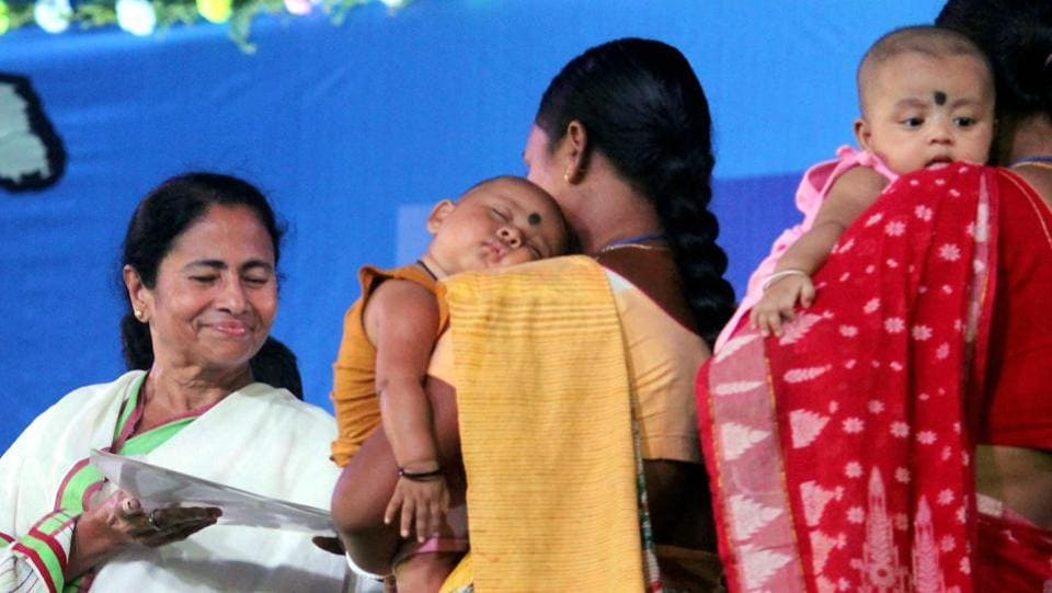 West Bengal chief minister Mamata Banerjee at a project inauguration at Chopra in North Dinajpur district of West Bengal on Tuesday.