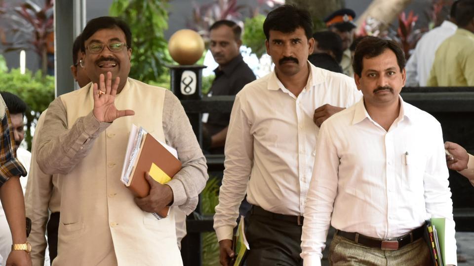 BJP MLA Sudhir Mungantiwar arrives at Vidhan Bhavan for the monsoon assembly session on Tuesday.