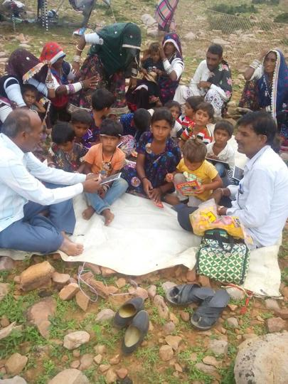 Nomadic children study at Chal Pathshala (mobile school) at Jhalawar.