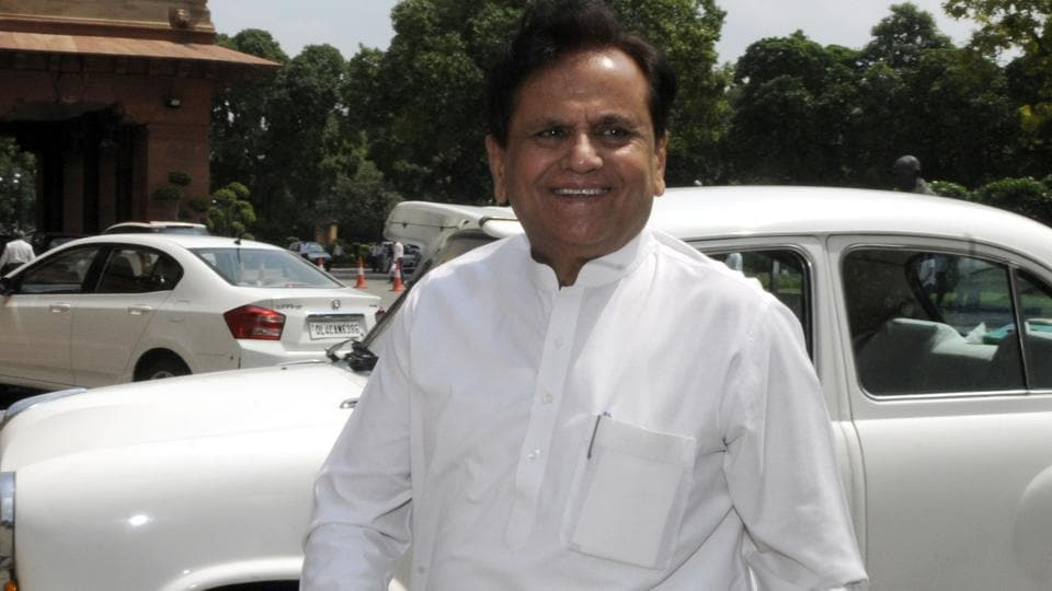 Congress leader Ahmed Patel at Parliament House in New Delhi.