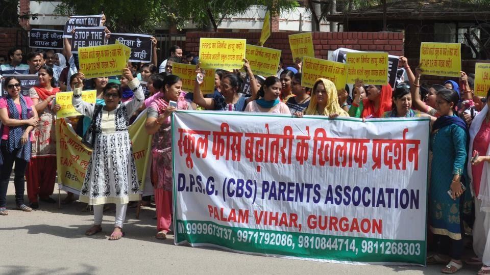 The parents alleged that teachers at the school are harassing students who have not paid the hiked fee.