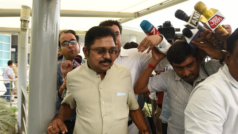 AIADMK leader TTV Dinakaran arriving to appear before Delhi police.