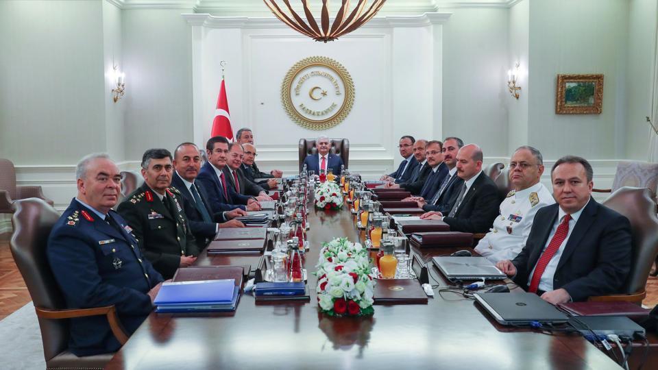 Turkish Prime Minister Binali Yildirim (C) chairing the Turkish Supreme Military Council meeting at Cankaya Palace in Ankara on Wednesday.