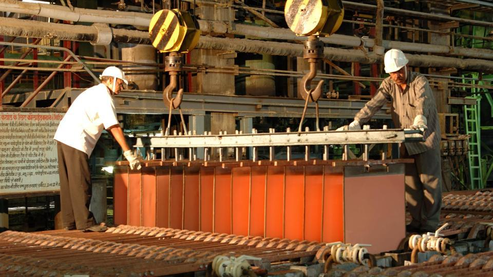 Workers at the Indian Copper complex in Ghatsila in Jharkhand.