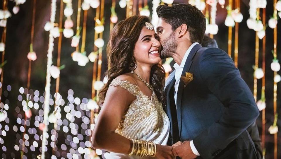Samantha Ruth Prabhu and Naga Chaitanya at their engagement in January.