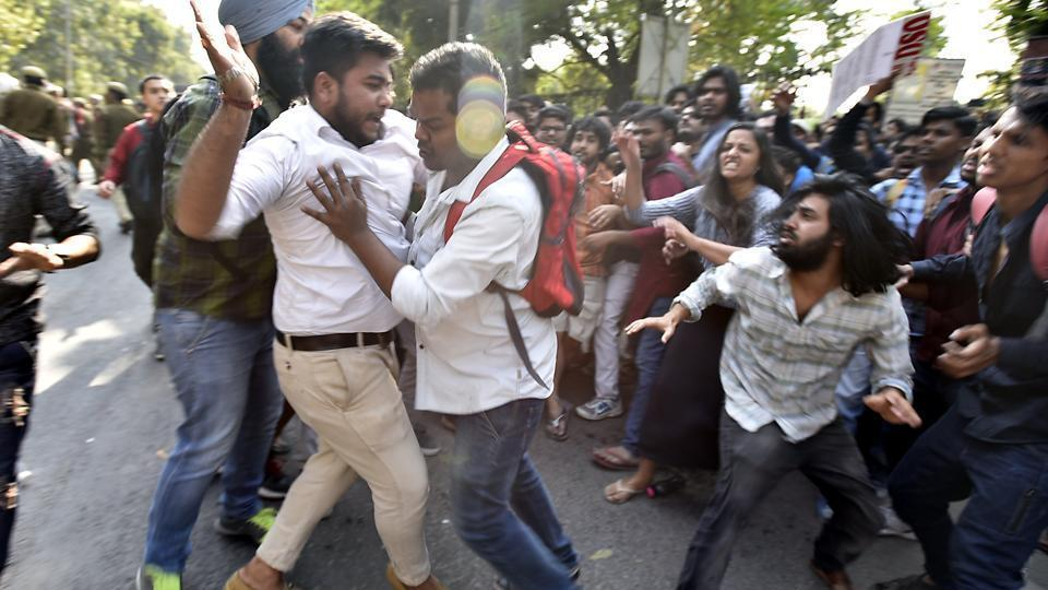 Clashes broke out between activists of ABVP, AISA and other students from the Delhi University on February 22, 2017.