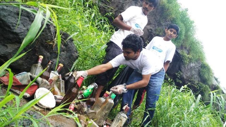 Members of NGO Environment Life cleared alcohol bottles from Bhivpuri waterfall earlier this month.
