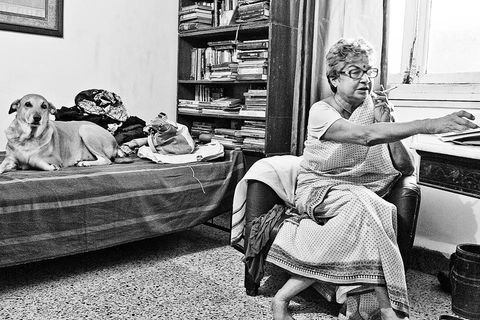Eunice de Souza at home in Mumbai.