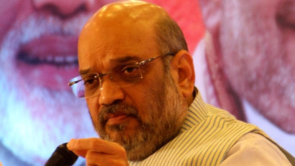 Amit Shah addressing a press conference in Rohtak on the second day of his three-day visit to Haryana wherein he is reviewing the functioning of the Manohar Lal Khattar-led BJP government.