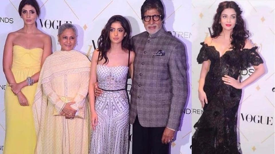 Amitabh Bachchan with Shweta Nanda, Navya Naveli and Jaya Bachchan. Aishwarya Rai Bachchan was the show stealer.