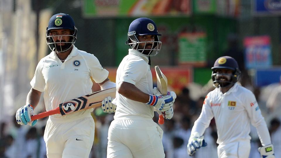 Ajinkya Rahane and Cheteshwar Pujara both scored centuries as India ended Day 1 of the 2nd Test vs Sri Lanka in a dominant position.  (AFP)