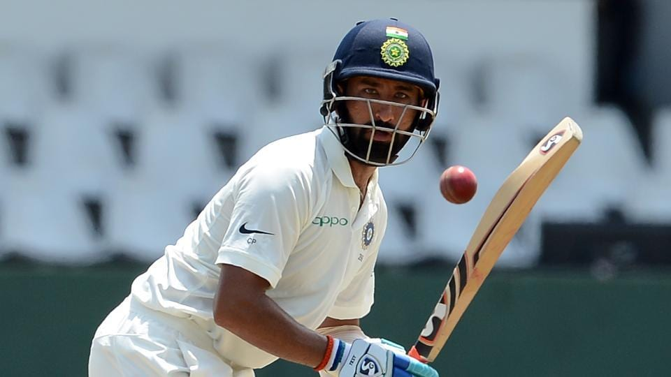 India's Cheteshwar Pujara plays a shot during the first day of the second Test match against Sri Lanka and India at the Sinhalease Sports Club (SSC) Ground in Colombo on Thursday.