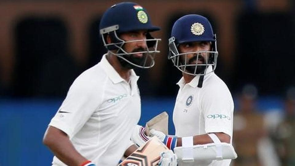 India's Cheteshwar Pujara (L) and Ajinkya Rahane in action during the second Test match against Sri Lanka in Colombo. Catch highlights of India vs Sri Lanka, 2nd Test, Day 1 here