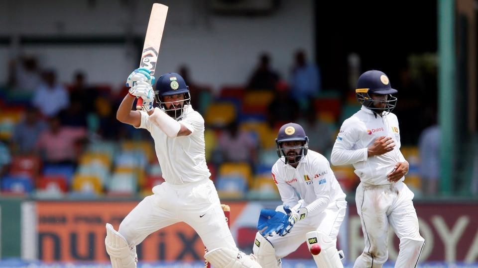 Cheteshwar Pujara in action during the second Test of the three-match series between India vs Sri Lanka. Catch full cricket score of India vs Sri Lanka, 2nd Test, Day 1 here