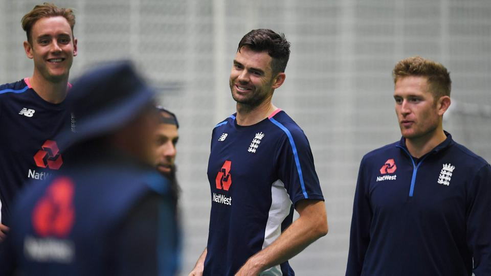 England players attend a practice session at Old Trafford in Manchester ahead of the fourth Test match against South Africa.