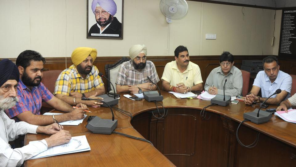 Mayor Amarinder S Bajaj chairing the finance and contract committee meeting on Wednesday.