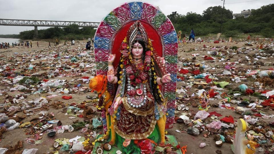 The Dashama vrat is a festival and fast local to Gujarat and dedicated to the goddess Dashama. This ten-day festival marked by the advent of the Shravan month of the Hindu calendar culminates with the immersion of the idols of this deity near the banks of the Sabarmati river. (Ajit Solanki / AP)