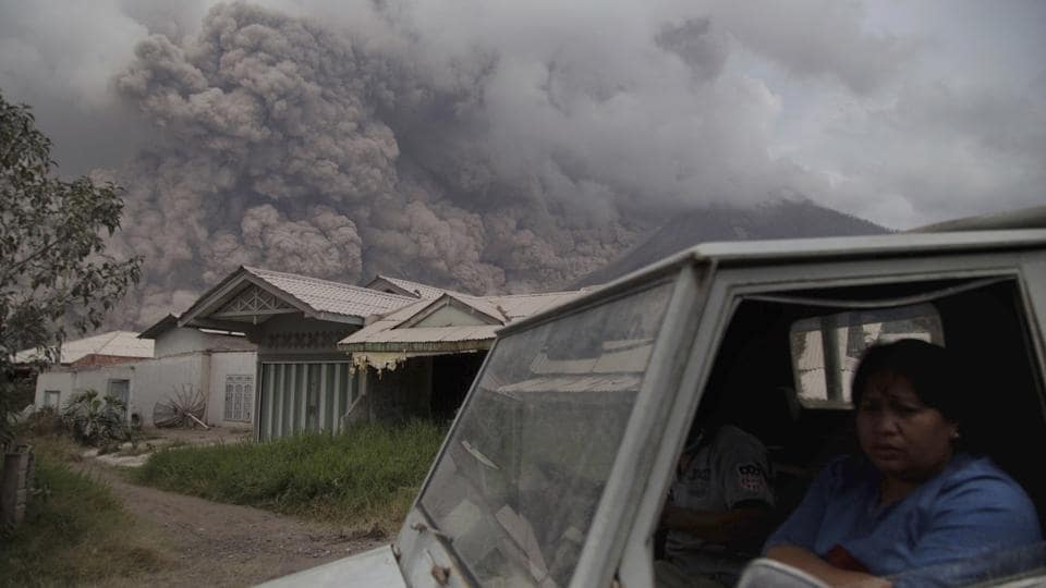 Indonesia's Mount Sinabung volcano, located in Karo regency in North Sumatra province, erupted on August 02, 2017. The eruption on the 8,080-foot volcano was one of the biggest over the past several months and was followed by at least 19 smaller eruptions and lava flows. (Endro Rusharyanto / AP)