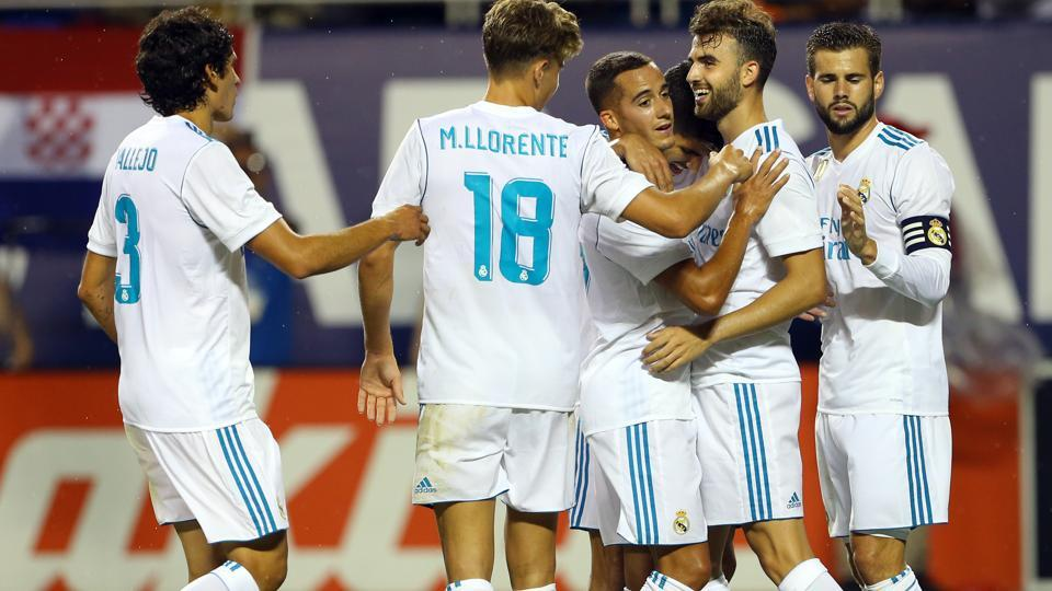 Real Madrid CF forward Borja Mayoral celebrates with teammates after scoring against Major League Soccer all-star team in the MLS All Star Game at Soldier Field, on Wednesday.