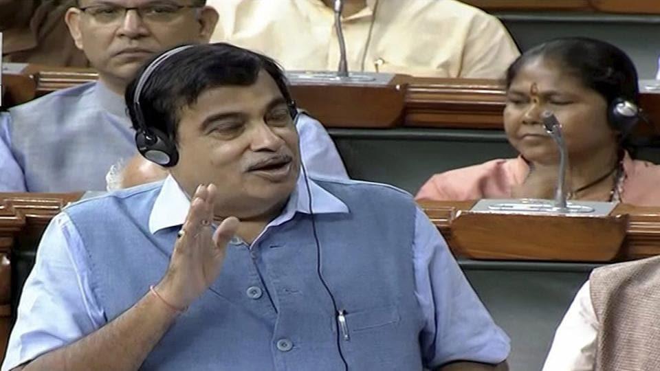 Union Minister Nitin Gadkari speaks in the Lok Sabha in New Delhi on Thursday.