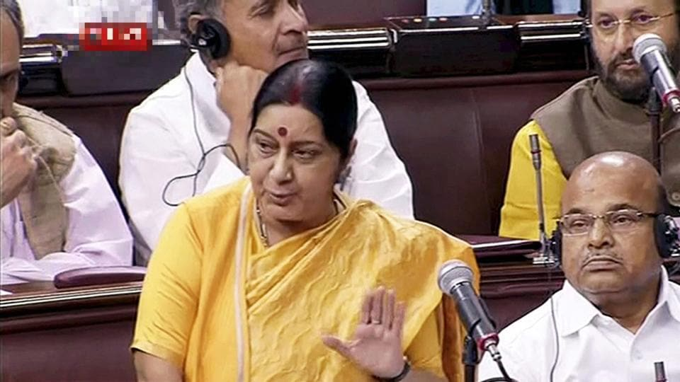 External affairs minister Sushma Swaraj speaks in the Rajya Sabha during the ongoing monsoon session of Parliament on Thursday.