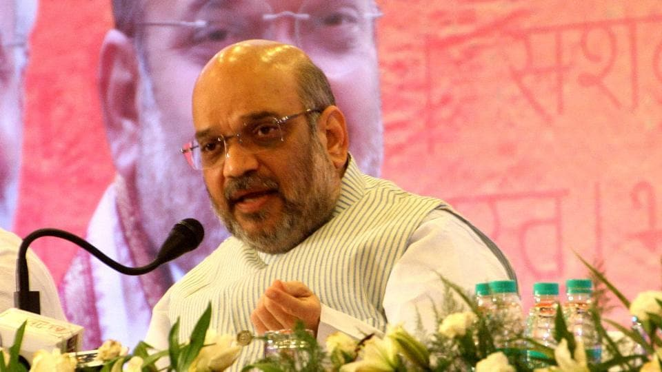The Bharatiya Janata Party chief Amit Shah  addresses a press conference in Rohtak on Thursday.