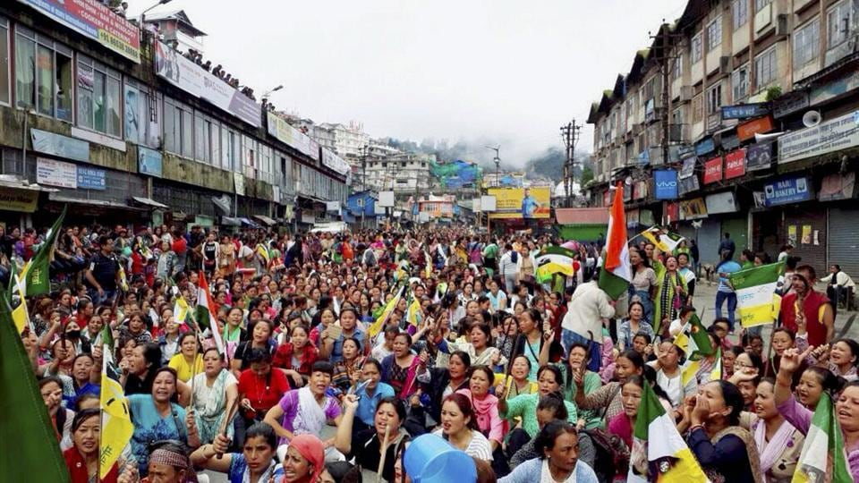 People protest for the separate state of Gorkhaland, in Darjeeling.