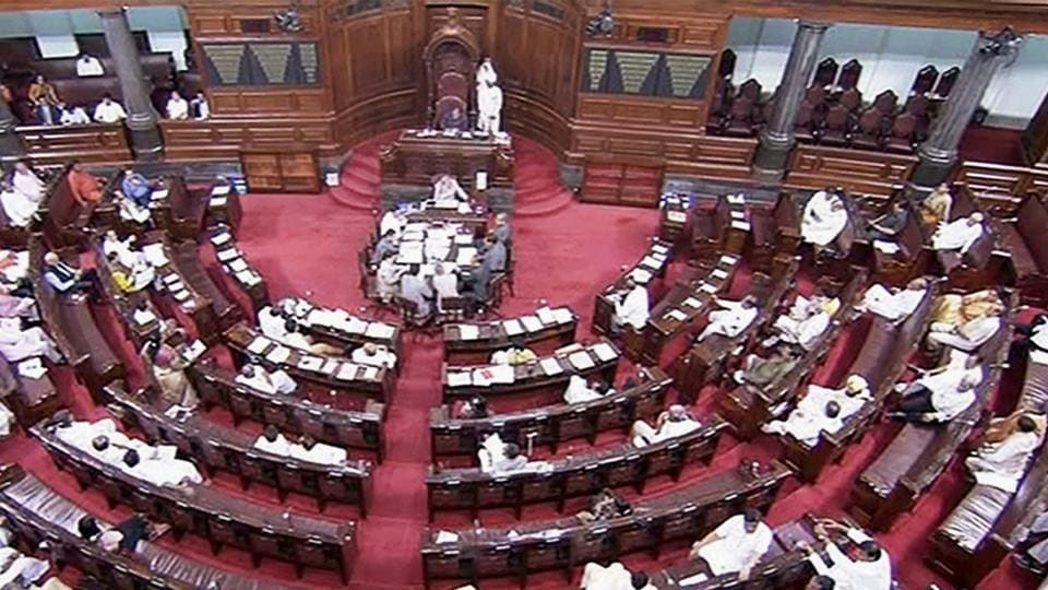 A view of the Rajya Sabha during the ongoing monsoon session of the Parliament on Thursday.