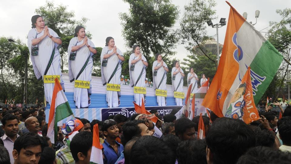 Trinamool Congress observed 24th Martyrs' Day at Esplanade Crossing in Kolkata in July 2017.