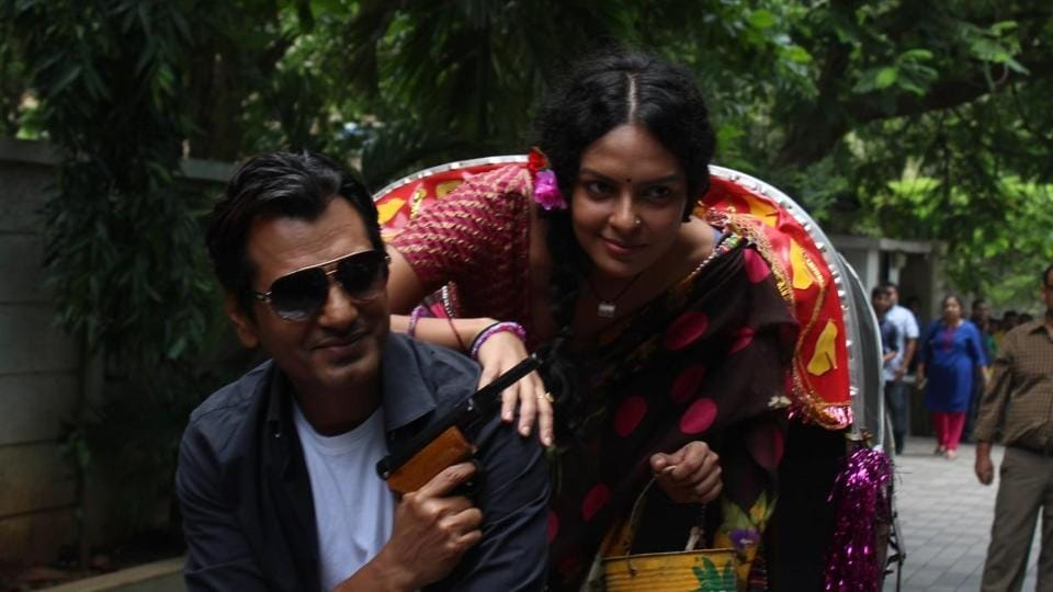 Nawazuddin Siddiqui and Bidita Bag during the trailer launch of Babumoshai Bandookbaaz.