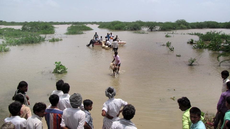 Villagers being moved to safer locations in Barmer.