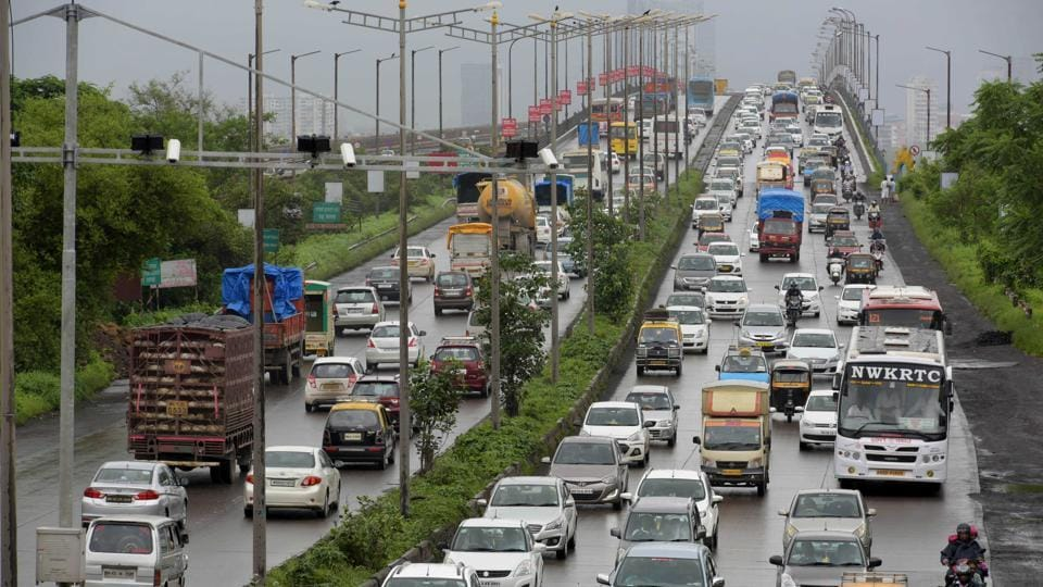 Traffic from Vashi creek bridge to Mankhurd in Mumbai, India, on August 2, 2017.