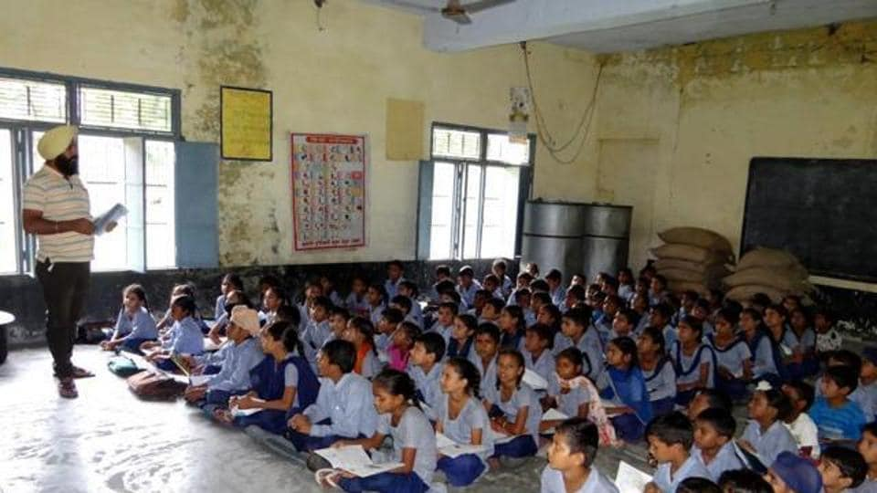 A single teacher taking five classes in a single room at a primary school in a Dharamkot village in Moga in Augusta last year.