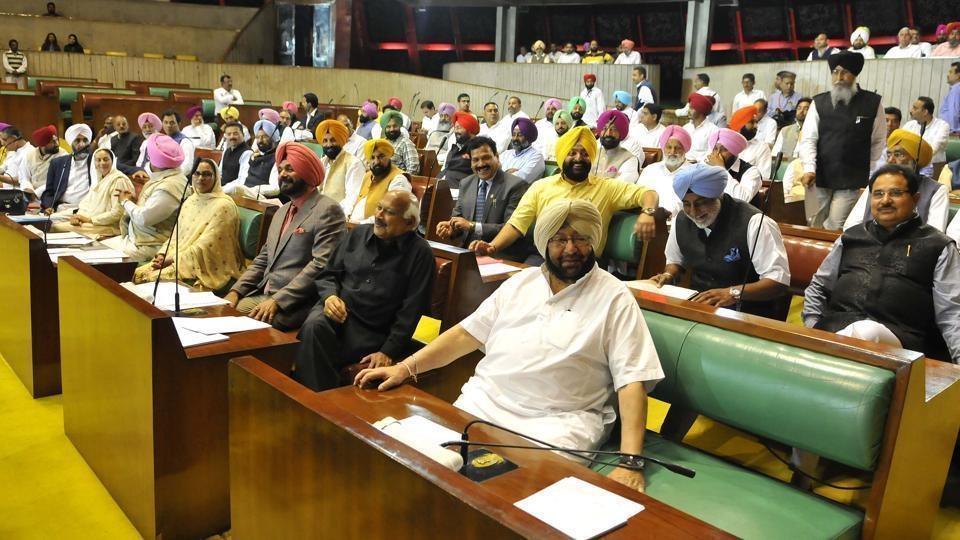 Punjab chief minister Captain Amrinder Singh along with cabinet ministers and other MLAs on the first day of the first session after the Congress won power in the Vidhan Sabha, in Chandigarh in March.