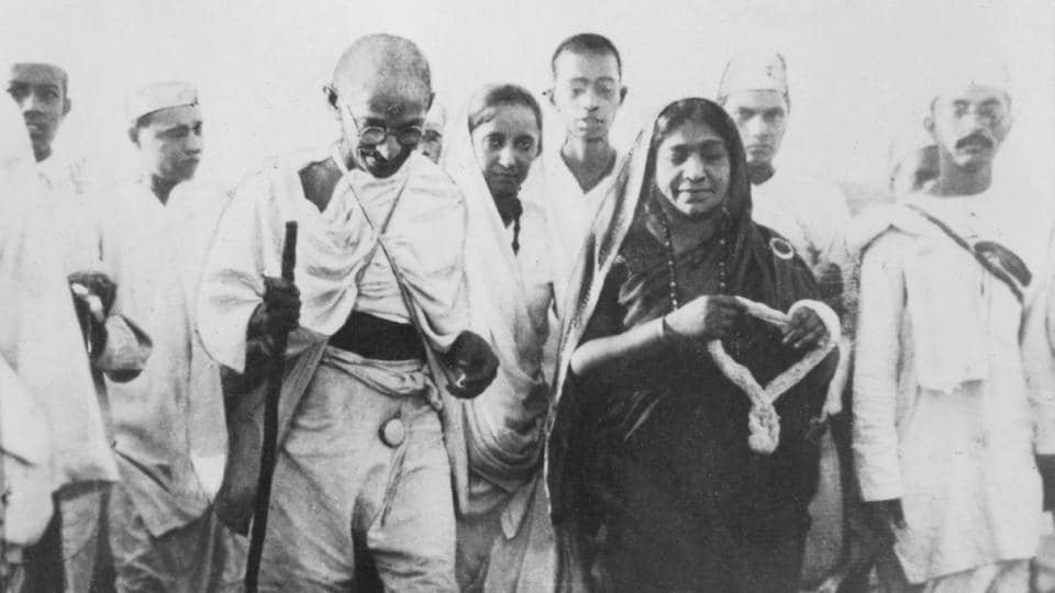 Mahatma Gandhi  and Sarojini Naidu during salt satyagraha. Non-violence was the cornerstone of Gandhi's philosophy in the fight against British colonial rule.