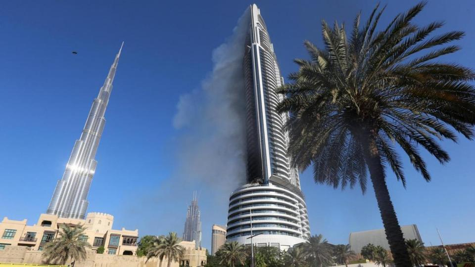 More than 40 floors of the 86-story the Torch Tower inDubai were burning on one side of the building.