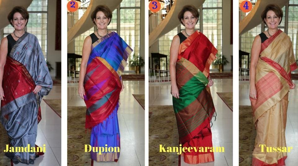 """During her hour-long stay at the outlet, Carlson browsed through several sarees, before selecting """"five best ones"""" for her."""
