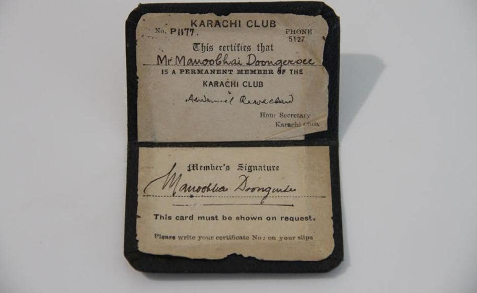 This identity card is among the objects contributed by Mumbai folk to the Remembering Partition event. It belonged to the father of  Pushpa Bhatia, who recalls using the club's pool as a child. She was 10 during Partition, and remembers the mood of fear.