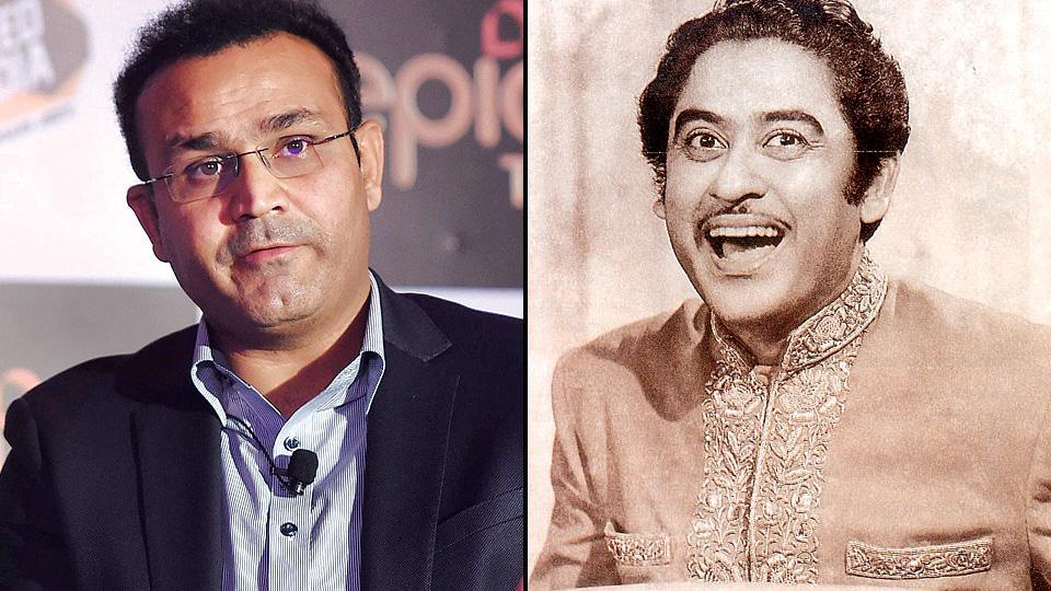 Virender Sehwag once again paid rich tributes to Kishore Kumar on the singer's 88th birth anniversary on Friday