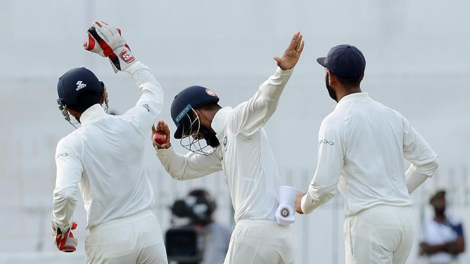 The Indians were clearly in a celebratory mood towards the end of the day, with  KL Rahul (C) doing the dab to celebrate the fall of a wicket.  (AFP)