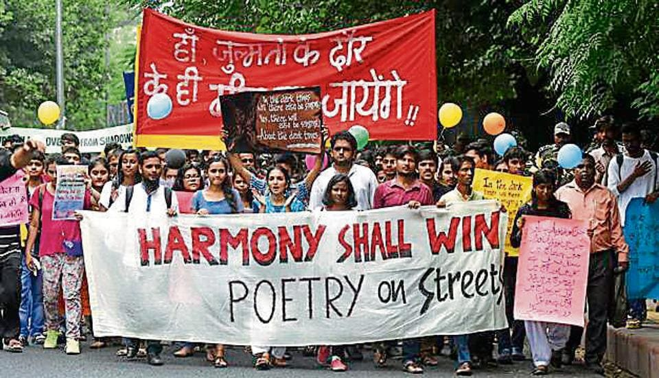 """Some 100 odd studentstook out a march, with the theme """"Harmony Shall Win,"""" through campus visiting Ramjas College, Hindu College and Kirori Mal College, protesting against the allegedly growing number of violent incidents on campus."""