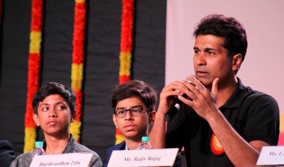 (R to L) Rajiv Bajaj, Harshanvardhan Zala, Akash Manoj at the Youngistaanis- Innovators Conclave organised on the 13th Founders day of The Orchid School, Pune.