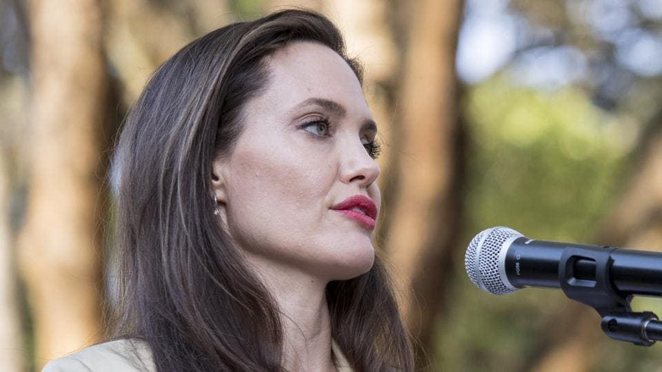 Angelina Jolie speaking during a visit to British Peace Support Team in Kenya.