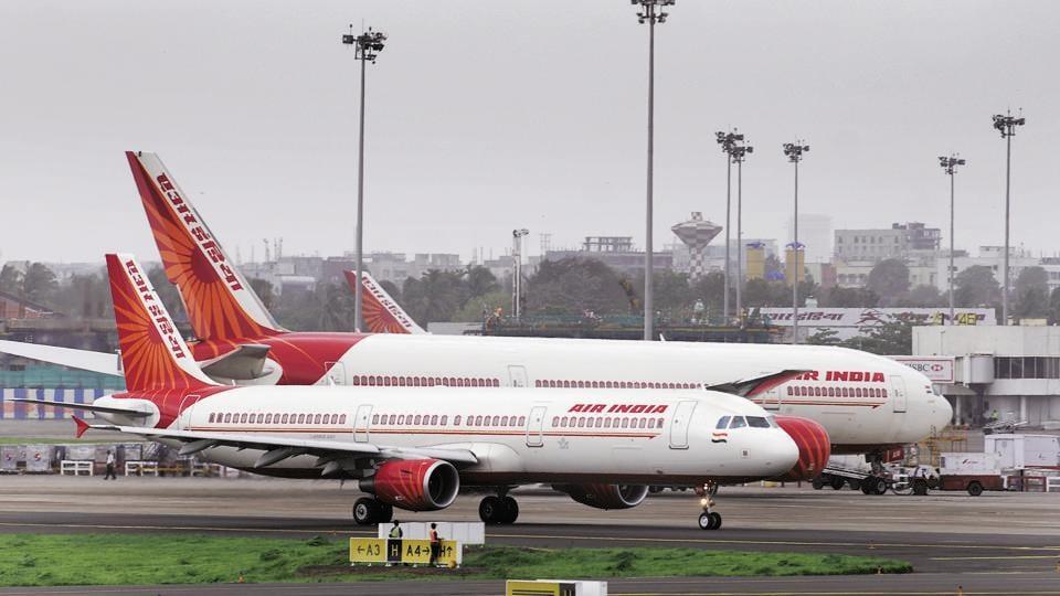 Air India aircraft photographed at Mumbai International Airport.