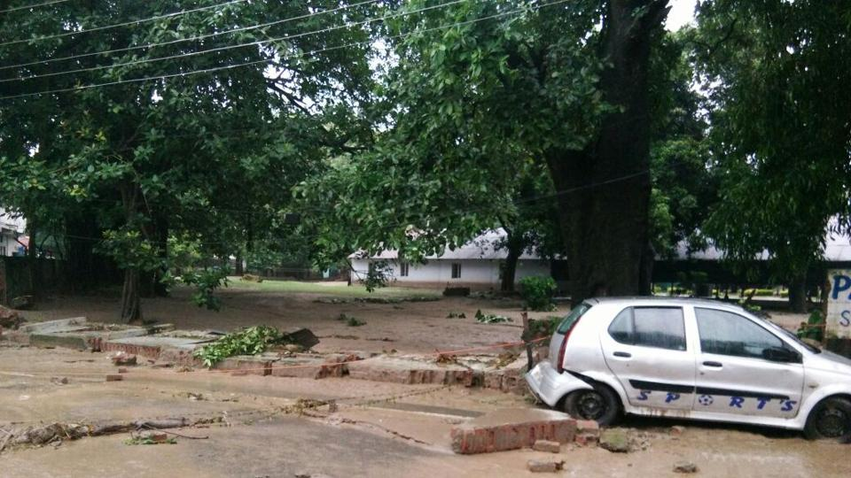 Rainwater inundated low-lying areas and filled up the roads in Kotdwar.