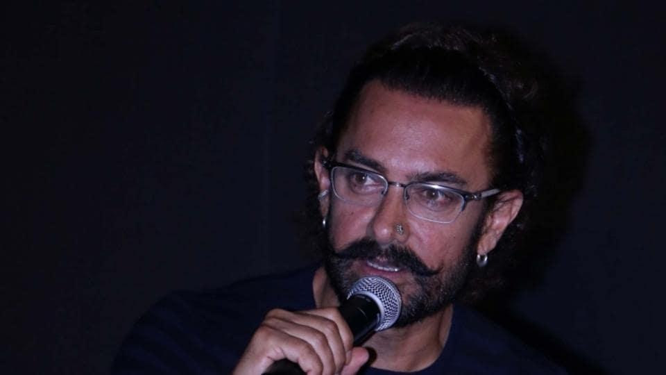 Aamir Khan during the trailer launch of Secret Superstar in Mumbai on Aug 2.