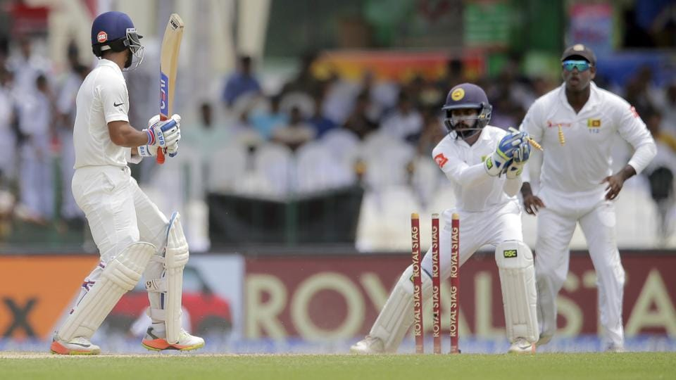 Ajinkya Rahane also found himself heading back to the pavilion thanks to smart bowling from Malinda Pushpakumara.  (AP)